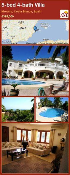 5-bed 4-bath Villa in Moraira, Costa Blanca, Spain ►€395,000 #PropertyForSaleInSpain