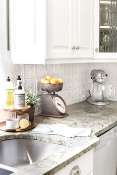 How to makeover a kitchen backsplash with a pressed tin farmhouse style inexpensively and in 6 hours, no power tools required. Classic Kitchen, Farmhouse Style Kitchen, Shabby Chic Kitchen, Farmhouse Kitchens, Vintage Kitchen, Modern Farmhouse, Farmhouse Decor, French Farmhouse, Country Kitchens