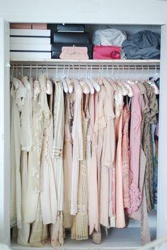 Feminine, Color Coded and Organized Closet.
