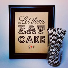 Let Them Eat Cake Sign. Cupcakes. Pie. Print. Poster. Rustic Wedding. Cake Table. 8x10. Personalized