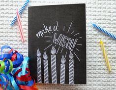 Chalkboard Birthday Card - Chalkboard Art - Chalk Art - Make a Wish - Unique Birthday Card - Blank Notecard
