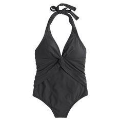 Twist-front halter one-piece swimsuit - Solid Tanks -Women- J.Crew