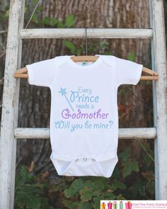 Will You Be My Godmother Outfit - Infant Baby Boy Bodysuit - Every Prince Needs a Godmother Onepiece - Godchild & Godparent Keepsake