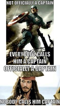 Excuse you. Captain Rogers, aka Captain America, was a captain in the US military during WWII. Retired military personnel are allowed to use their rank socially. So yes, Captain America is really a captain. Jack is not part of any military. He should only count as a captain when he actually has a ship, which isn't all that often.