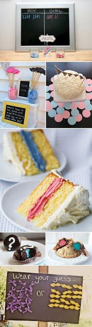 Gender Reveal Party Idea's! Love the cake, using the filling instead of the actual cake