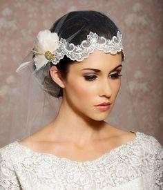 Juliet Cap Veil,  Ivory Lace Cap Veil, Art Deco Veil, Juliet Veil, Tulle Veil, Vintage Veil, Great Gatsby Veil - Made to Order - Agnes. $158.00, via Etsy.