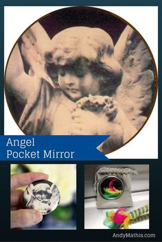 Angel Polaroid Transfer 2.25 inch Pocket Mirror with velour carrying pouch. Available on Amazon. $7.99