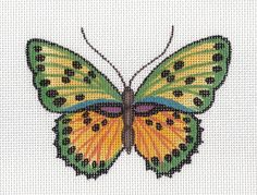 Anne Brinkley Green Yellow Butterfly Handpainted HP Needlepoint Canvas 18M | eBay