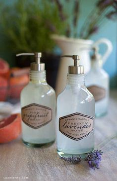 Replace your kitchen hand soap with a DIY citrusy blend, and your bathroom hand soap with a DIY lavender blend.