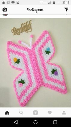 This Pin was discovered by mel Crochet Earrings, Crochet Patterns, Butterfly, Crafts, Instagram, Crochet Kitchen, Rage, Amigurumi, Pattern