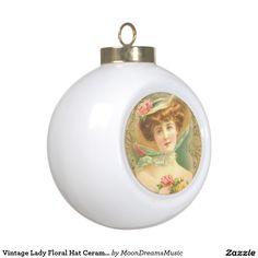 #VintageLady #FloralHat #CeramicBall #ChristmasOrnament by #MoonDreamsMusic