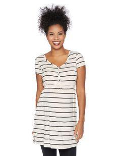 Short Sleeve Scoop Neck Babydoll Maternity Tunic (Oat/Blk Stripe)