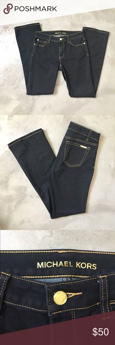 Michael Kors Black Stretch Bootcut Jeans EUC Dressy black stretchy jeans with fancy gold stitch and details. These pants are super comfy with thin stretchy material made of 80%cotton, 18% polyester, 2% spandex. Super posh and flattering 💋. Michael Kors Pants Boot Cut & Flare