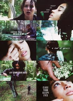 """The Hunger Games - Rue's death    """"Deep in the meadow, under the willowA bed of grass, a soft green pillowLay down your head, and close your sleepy eyesAnd when again they open, the sun will rise."""""""