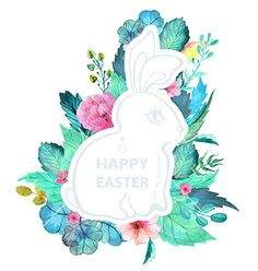 Easter watercolor natural with rabbit sticker vector 4032864 - by Elmiko on VectorStock®