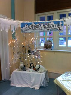 Polar Animal area EYFS Eyfs Activities, Winter Activities, Early Years Topics, Eyfs Classroom, Great Fire Of London, Polar Animals, Work With Animals, Corner House, Book Corners
