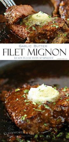 This Garlic Butter Filet Mignon is the most tender & delicious cut. Smothered in garlic butter, it melts in your mouth. A great easy family dinner idea. via /KleinworthCo/ Steak Marinade Recipes, Easy Steak Recipes, Meat Recipes, Cooking Recipes, Healthy Recipes, Cooking Tips, Yummy Recipes, Fancy Dinner Recipes, Dinner Party Menu