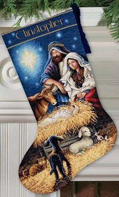 Holy Night Stocking Counted Cross Stitch Kit #christmas #crossstitch #stocking…