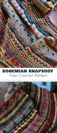 Crochet Sampler Afghan Pattern, Crochet Square Patterns, Free Crochet Blanket Patterns, Scrap Yarn Crochet, Crochet Yarn, Crochet Afghans, Crochet Blankets, Bohemian Crochet Patterns, Striped Crochet Blanket