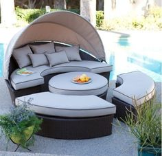 Amazon.com : Belham Living All-weather Wicker Sectional Outdoor Daybed with Sunbrella Shade Option Patio Furniture Set, Loveseat with Canopy, Ottoman, Benches, Perfect for Patio and Poolside Seating : Patio, Lawn & Garden