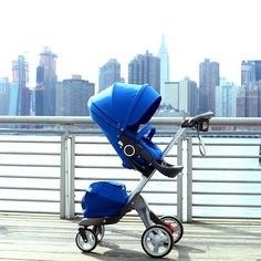 Chic modern baby stroller for New York City - have you seen the NEW Special edition color Cobalt Blue for Stokke Xplory ?