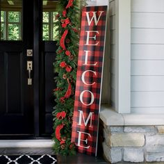 Christmas Buffalo Check Welcome Sign - Grandin Road Christmas Signs Wood, Holiday Signs, Christmas Porch, Christmas Mantels, Christmas Ideas, Christmas Crafts, Wooden Halloween Signs, Buffalo Check Christmas Decor, Christmas Garden