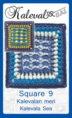 Kalevala sea free crochet pattern for a blanket square. One of the crochet motifs in a Finnish blanket crochet-along. Written pattern and tutorial video. Crochet Motif Patterns, Crochet Blocks, Crochet Chart, Crochet Squares, Crochet Stitches, Free Crochet, Granny Squares, Knit Crochet, Knitting Patterns