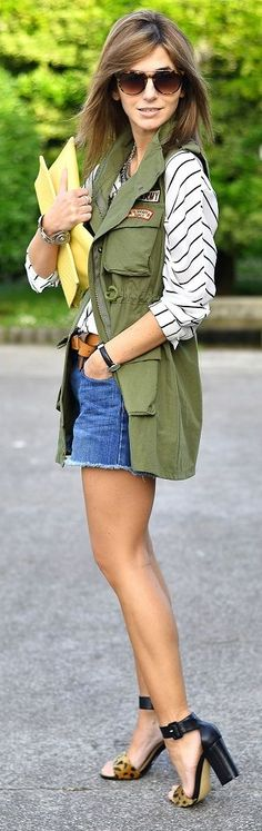 Ma Petite By Ana Chaleco Militar 5 Business Casual Outfits, Casual Winter Outfits, Summer Outfits, Pretty Outfits, Cool Outfits, Vest Outfits, Military Looks, Looks Street Style, Shorts