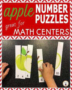 Apple Number Puzzles for Rote and Skip Counting Kindergarten Homeschool Curriculum, Kindergarten Math, Homeschooling, Apple Activities, Motor Activities, Preschool Puzzles, Apple Unit, Eureka Math, Number Puzzles