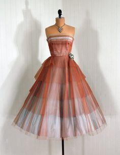 1950's Vintage Sheer Tulle Dress