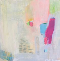 """Add a cheerful splash of pastel #abstractart! """"Learning To Walk"""" by Leslie Alterman. 10 x 10 inches. Acrylic on board. $175. #contemporaryart #decor #interior #abstract"""