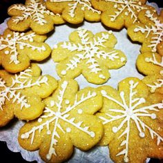 Sugar cookie snowflakes, dipped in crystal sugar with royal icing design. Available to order @Ye Olde Pie Shoppe 732-530-3337
