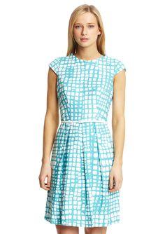 JONES NEW YORK Cap Sleeve Cobblestone Print Dress