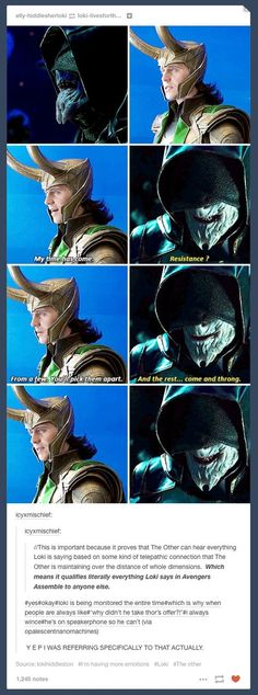 The whole dynamic of Loki being mind controlled/spied on in Avengers is so interesting and they never talked about it. Loki Thor, Loki Laufeyson, Tom Hiddleston Loki, Marvel Funny, Marvel Memes, Marvel Dc Comics, Marvel Avengers, Johnlock, Destiel