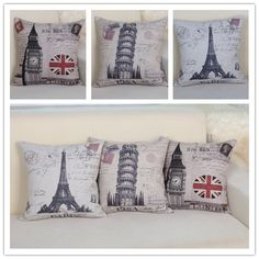 "linen vintage cushion for sofa"" Eiffel tower""""Pisa"" ""London Big Ben"""
