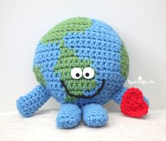 Meet Globie! He's a happy, squishy, cuddly, and soft crochet planet Earth! Earth Day is April 22nd and Globie wants to teach everyone about environmental protection. Get the kids (and adults) informed