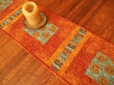 Quilted Table Runner With Terracotta Sunflowers In Rust And Blue, Narrow Table  Runner, Rustic