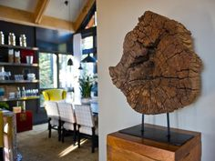 - Foyer Pictures From HGTV Dream Home 2014 on HGTV Love this piece of ancient wood used as art.
