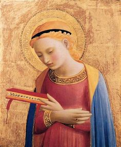 "12/8: Solemnity of the Immaculate Conception, Patronal Feastday of the U.S.A. - ""Immaculate Mary, thy praises we sing / Thou reignst now in Heaven with Jesus our King / Ave, Ave, Ave Maria! / Ave, Ave, Maria!"" (Virgin Mary Annunciate by Fra Angelico, 1433)"