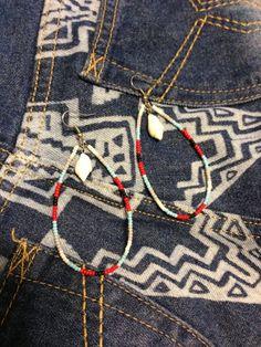 Earrings エスニックビーズ&天然シェルピアスハンドメイドハワイ インテリア 雑貨 Handmade ¥500yen 〆05月14日