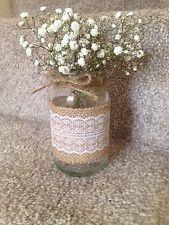10 Glass Jars - Vases - Vintage - Wedding Centrepiece Shabby Chic Burlap Lace