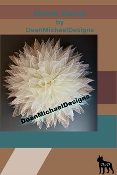 Simple and elegant home decor. This farmhouse chic flower looks great on a door or wall. Beautiful cream colored mesh with a touch of neutral sparkled tones. Interior design. Exterior design. Farmhouse style wreath for front door. Farmhouse home decor.  Original by DeanMichaelDesigns.  #wreath #homedecor #farmhouse