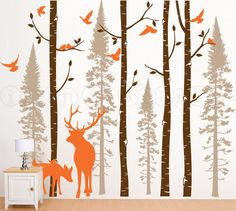 Birch and Fir Tree Wall Decal with Birds and Elk, Birch and Fir Forest, Birch Trees Wall Decal for Birch Nursery, Kids or Childrens Room 021 on Etsy, $130.00