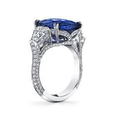 cts Ceylon Sapphire with two Shield cut diamonds and ideal cut pave diamonds set in platinum Sapphire And Diamond Earrings, Ceylon Sapphire, Platinum Diamond Rings, Diamond Pendant, Blue Sapphire, Ideal Cut Diamond, Pear Shaped Diamond, Diamond Cuts, Engagement Ring On Hand