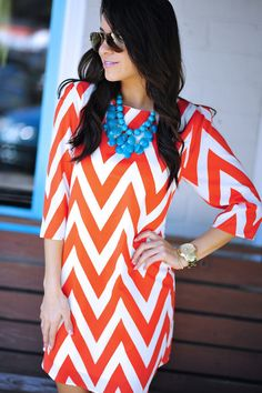 games, coral, statement necklaces, cloth, fashion style, white style, oranges, game day dresses, chevron dress