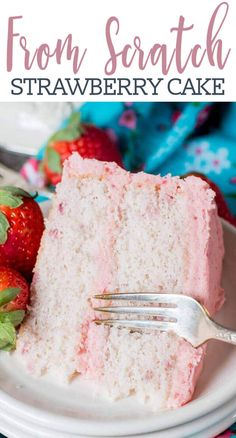 Hints for the perfect Homemade Strawberry Cake! This from-scratch recipe us… Hints for the perfect Homemade Strawberry Cake! This from-scratch recipe uses fresh strawberries in the cake and in the homemade buttercream. Strawberry Recipes For Summer, Strawberry Cake From Scratch, Homemade Strawberry Cake, Fresh Strawberry Cake, Strawberry Cake Recipes, Cake Recipes From Scratch, Easy Cake Recipes, Summer Desserts, Fresh Cake