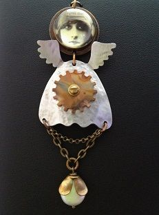 Liz Franklin Arts.  I create jewelry that is inspired by the magical people I have met along the way giving personality and human emotion to each piece. Using metal, pearls, vintage mechanical parts, gems, and photographs.