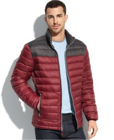 Nautica Jacket, Packable Lightweight Colorblocked Down Puffer Jacket - Coats & Jackets - Men - Macy's