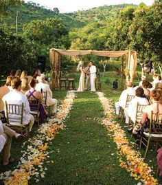 floral petals lining the aisle