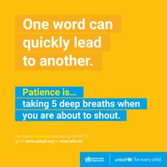 Parenting during #COVID19: Patience in #parenting is taking 5 deep breaths when you are about to shout. Strong Quotes Hard Times, World Organizations, Kindness Projects, International Health, Counseling Activities, One Word, Beginning Of School, Mom Advice, Coping Skills